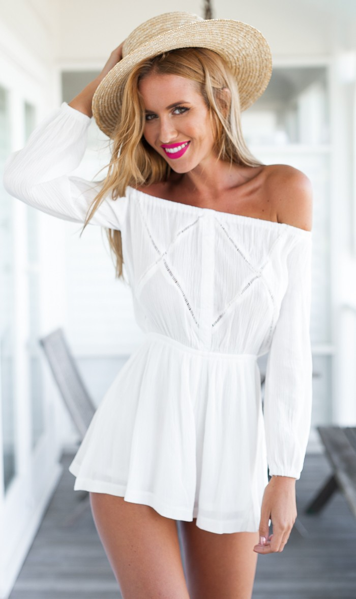 bd50e63b3fbd Long Sleeved White Off Shoulder Jumpsuit Romper on Luulla